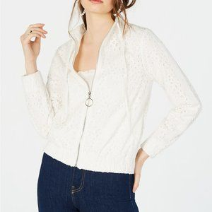 KENDALL + KYLIE White Cotton Embroidered Jacket